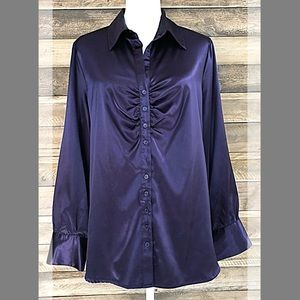 Apt. 9 purple satiny long sleeve collared blouse